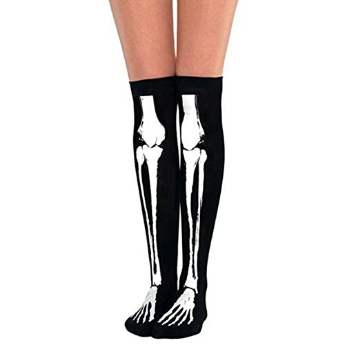 HENCY Halloween Skelett Strümpfe Tod Knochen Fasching Socken Schwarz (40 Einzigartige Halloween Kostüme)