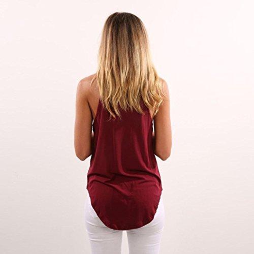 Minetom Donne Estate Elegante Canotta Halter Sling Senza Maniche Camicetta Casual Crop Tops Gilet Vest Allentato Maglietta Blusa T-Shirt Vino rosso