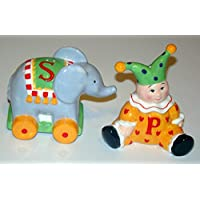 Mary Engelbreit Circus Elephant & Clown 4-inch Collectible Salt and Pepper Shaker Set by Hearland Gifts and Collectibles