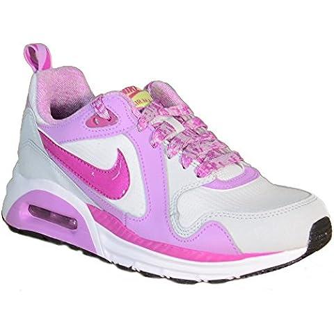Nike - Nike Air Max Trax (GS) Zapatos Deportivos Blanco Rosa Cuero Tejido 644470