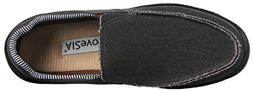 iLoveSIA Herren Loafer Moccassins Sneaker Slipper Freizeitschuhe Slip-On Low-Top mit herausnehmbaren Einlegesohlen schwarz Canvas