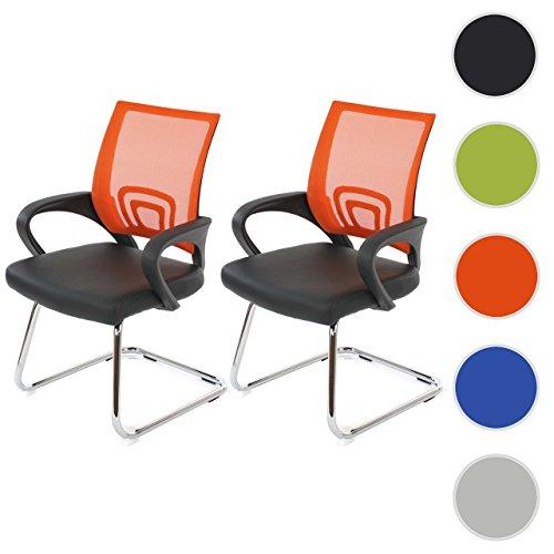 Mendler 2X Konferenzstuhl Ancona, Besucherstuhl, Kunstleder ~ orange
