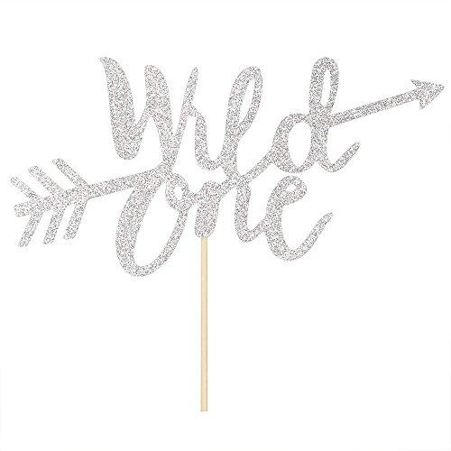 innoru Silber Glitzer Wild One Kuchendekoration Junge Mädchen ersten Geburtstag Party Idee Tortenverzierung Supplies