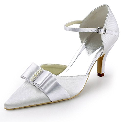 XINJING-S Ivory Schuhe High Heel Ankle Strap Bug Pearl Satin Hochzeit Brautschuhe Ivory