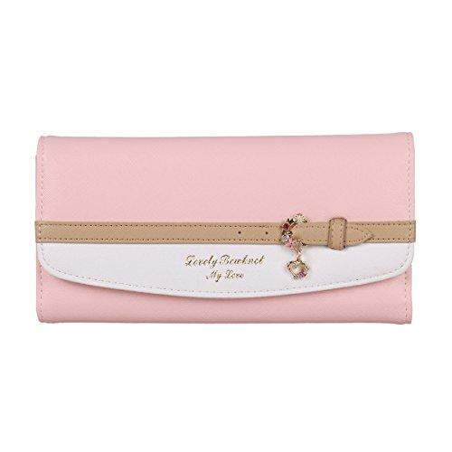 Damara® Zierde Riemen Dreiseitig Damen Brieftasche Geldbeutel,Dunkelpink (Riemen Mit Brieftasche)