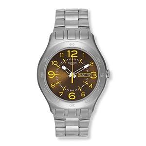 Swatch Irony New Big Brown Truffle YTS711G - Reloj analógico de cuarzo para hombre, correa de acero inoxidable color plateado de Swatch
