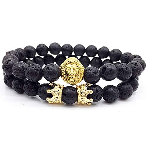 Pulsera de Piedra Natural de 8mm Pulsera de Amuleto para de Buda Reiki Abalorios de Lava Negra con Cabeza de león y Brazalete de Corona Pulsera de energía, Pulsera de Yoga para Hombres y Mujeres