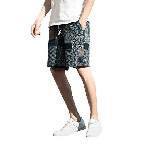 iCerber Nouvelle Mode Pantalon Tempé Rament pour Hommes D'éTé Extraordinaire Unique Sarouel National National en Coton Et Lin pour Hommes, Pantalon Court LâCheJour des Membres