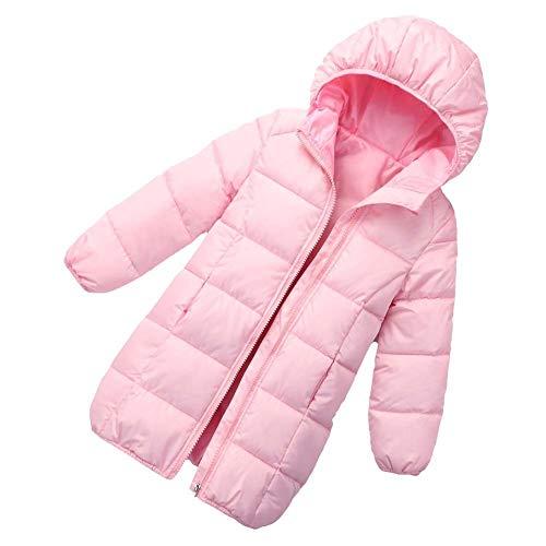 HOQTUM Kinder Mittlerer Langer Daunenjacke Jungen und Mädchen Winter Daunenjacke Kapuzenjacke Kinder Outdoor-Sport Reisen warmen Mantel Outwear