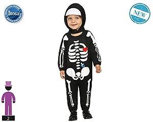 Atosa-61203 Atosa-61203-Disfraz Esqueleto-Bebé niño, Color negro, 24 Meses (61203