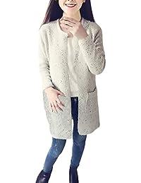 Mujer Cárdigans Invierno Otoño Largos Rebecas Jersey Elegantes Casual De Punto  Manga Larga Cuello Redondo con Bolsillo Cálido Suelto… 89c0968d1bd0