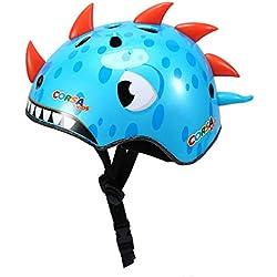 Asvert Casco Infantil Unisexo Casco de Bicicleta Casco niño niña Casco Deportivo Tamaño S Dinosa Azul