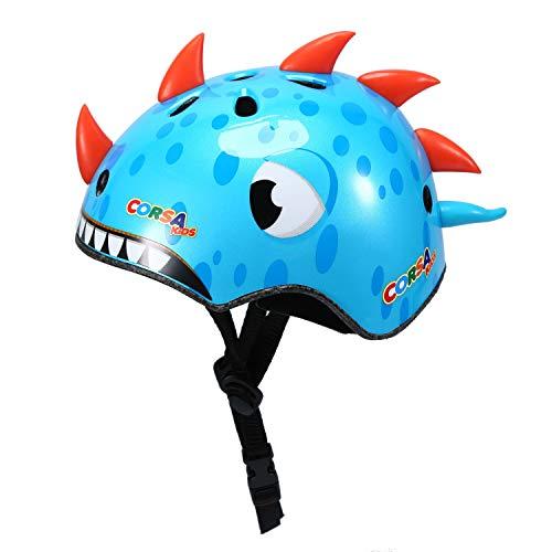 Asvert Kinderhelm Cartoon Helm Dinosaurier Einstellbar Stirnband Schutzhelm 3-6 Jungen und Mädchen für Roller Skating Skateboard BMX Roller Radfahren, Blau