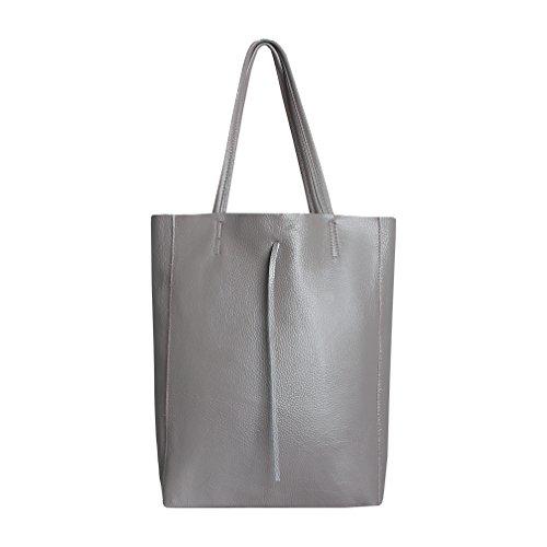 SKUTARI Original Vittoria Classic Shopper, Laptop- und Einkaufstasche aus echtem Leder mit extra langen Griffen und Reißverschlussinnentasche, handgefertigt in Italien | Grau, 36 x 38 x 13 cm -