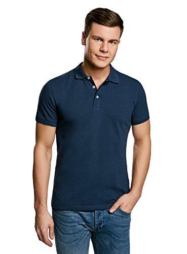 oodji Ultra Herren Pique-Poloshirt Basic (3er-Pack) Blau (7900N)