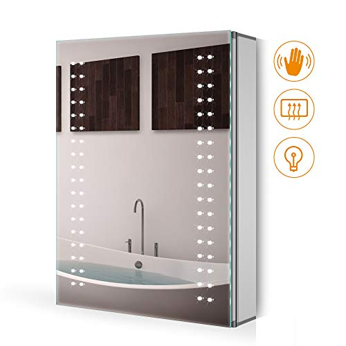 Quavikey 500 x 700mm Badspiegel Wandspiegel Spiegelschrank mit energiesparender LED-Beleuchtung Regal-Speicher-Kabinett Antibeschlag Wasserdicht IP44
