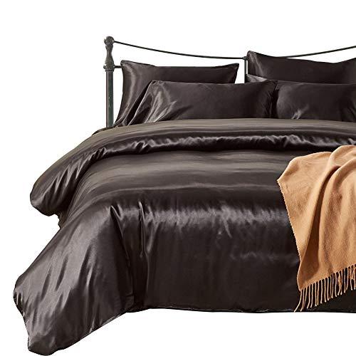 HOTNIU Voller Satin-Seidenbezug mit Reißverschluss - Ultra weich Prämie Qualität 2-teilige Bettwäsche-Sets - 100% Mikrofaser-Tröster Beschützer mit SHAM (Schwarz, Single Size)