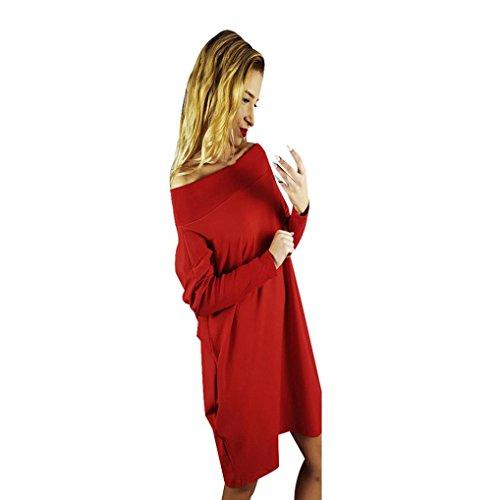Amlaiworld Femmes Automne hiver Une épaule Cocktail am Abend Party Minikleid Rouge