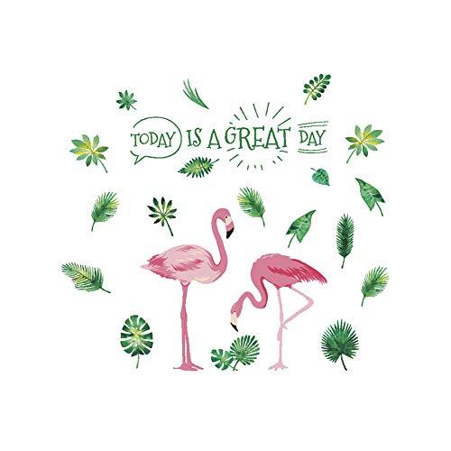 AzuNaisi Paar rosa Flamingo Wandaufkleber Grüne Blätter Sprüche Heute ist EIN großer Tag Vinyl Zitate Aufkleber für Wohnzimmer Home Art Murals Home dekor (Rosa Und Grüne-wand-dekor)