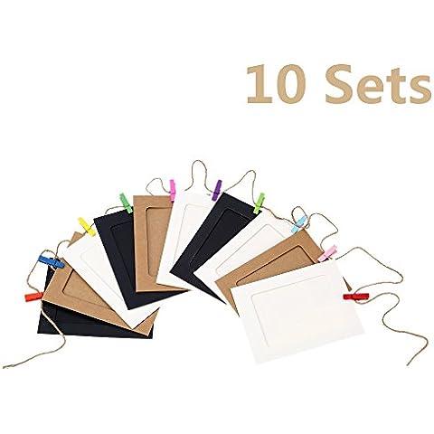Anself - 10Sets Marcos de Fotos de Papel+Cuerda y Pinzas(10pcs/Set) del Estilo Retro Memoria Dulce Decorativos para Hogar Dormitorio de Bebé Salón Boda