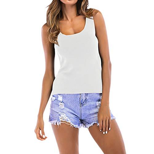 Yvelands Damen Weste T-Shirt Solide Strien U Hals Trägerlose Ärmelloses Trägershirt Crop Bluse(CN-XL,Weiß)
