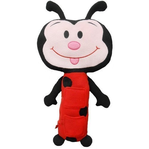 Childrens Car Seat belt Soft Toy Pet Travel Pillow - Ladybug