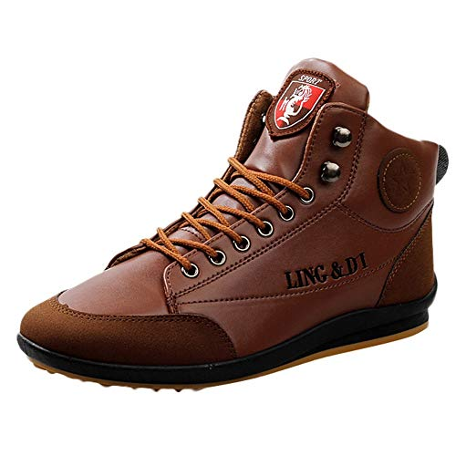 BaZhaHi Zapatillas de Hombre Botas de Cuero Zapatos Deportivos Casuales Estilo Vintage de Estilo británico...