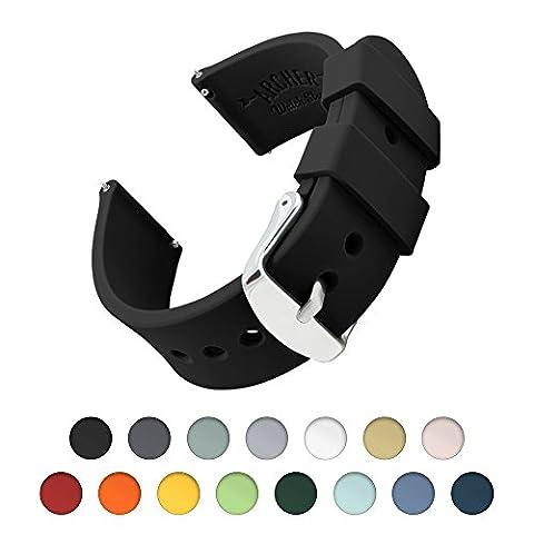 Archer Watch Straps - Bracelet de Montre Homme et Femme | Ajustable en Silicone Souple et Robuste | pour Montre Classique et Smartwatch (Noir, 20mm)