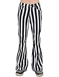 Mens 60s 70s Retro Vintage New Black White Striped Bell Bottom Flares Sizes 30 32 34 36 38