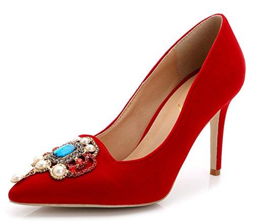 Aisun Damen Strass Künstlich Perlen Suede Metall Stiletto Pumps Rot