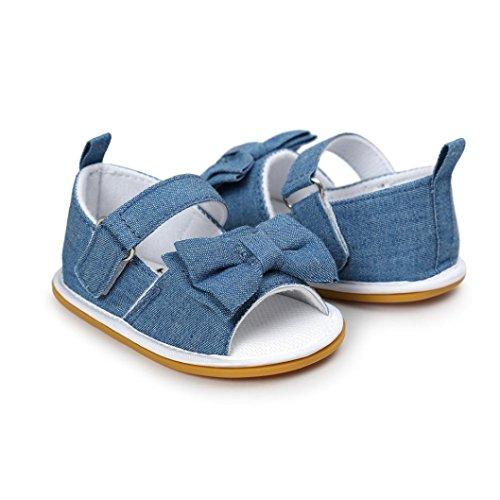 Clode® Bébé Fille Bowknot Sandales Chaussure Sneaker Anti-dérapant mou Seul Bambin (0~ 6 mois, Gris) Bleu
