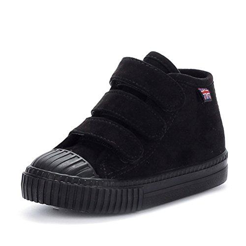 Unisex Kinder Herbst Winter Warme Runde Zehen Gummi Zehen Schnellverschluss Canvas Bequeme Einfache Tägliche Sneakers Schwarz