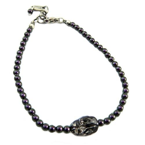 Lily-Crystal [P6676] - Handgemachtes armband 'Tsarine' lila grau (käfer)- 3 mm, 11x8 mm. - Lily, Elf-prinzessin Die