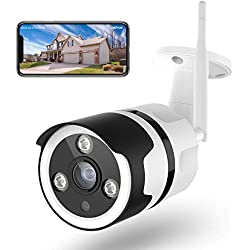 Caméra Surveillance WiFi Extérieur, Netvue Full HD 1080P Caméra de Sécurité Compatible avec Alexa, Caméra IP sans Fil avec Vision Nocturne, Détection de Mouvement, Audio Bidirectionnel