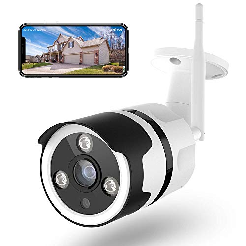 Telecamera wi-fi Esterno Senza Fili, Netvue Full HD 1080P Videocamera Sorveglianza Wifi Con IP66 Impermeabile, Rilevazione di Movimento, Visione Notturna, Audio Bidirezionale, Compatibile con Alexa