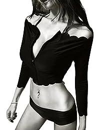Damen Sexy Bikini, Vandot Women Langarm Zipper off Schulter Bandage Push up Gepolsterte BH Dreieck 3pcs Bikini Set SunScreen Diving Badeanzug Bademode Beachwear Badeanzug Schwarz M