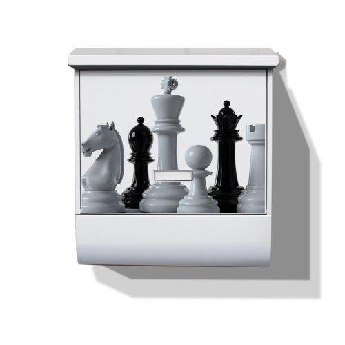 Burg-Wächter Briefkasten mit Zeitungsfach und Namensschild Motiv: Schachspiel