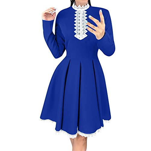 Xmiral Damen Langarm Patchwork Spitzenkleid Casual Häkelspitze A Line Mini Kleid Kostüm für Rollenspiel, Mottoparty(M,Blau)