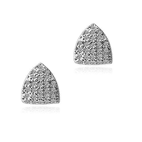 Triangle CZ Stud Earrings - Fleur Rouge 18K Gold Plated Cubic Zirconia Triangle Stud Earrings For Women