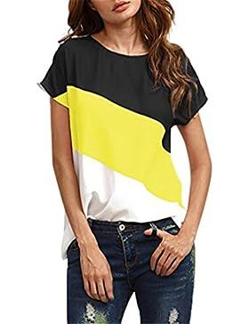 Donna Estiva Camicia,Longra T-Shirt Maglia Color Block Donna Color Block Chiffon Manica Corta Casuale Camicetta...