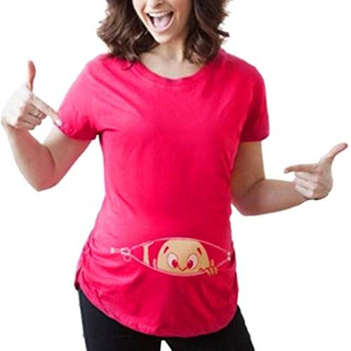 OYSOHE Damen Pregnant Loose Top, Neueste Womens Print Pregnant Lässige Pflege Bluse Baby für Mutterschaft T-Shirt Tops (XL, Heiß Rosa) -