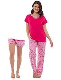 35406931590 Ladies 2 in 1 Pyjama Shorts Or Long Set 3 Piece