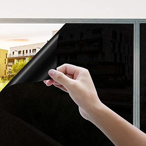 Rhodesy Fensterfolie Selbsthaftend Schwarz, Homegoo Matt Statisch Folie dunkel, Anti-UV Hitze Schwarz für Schlafzimmer und Wohnzimmer, 90 x 200 cm(35.4 x78.7 inch)