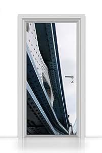 Papier peint autocollant pour porte Motif einteilig (Supports d'acier un pont) autocollants 93x 205cm