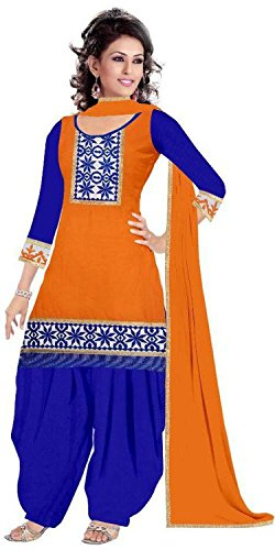 Rensila Women's Orange Color Cotton Fabric Dress Material