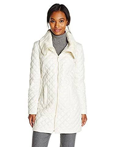 Via Spiga Women's Lightweight Quilted Jacket with Knit Collar, Ivory, X-Small