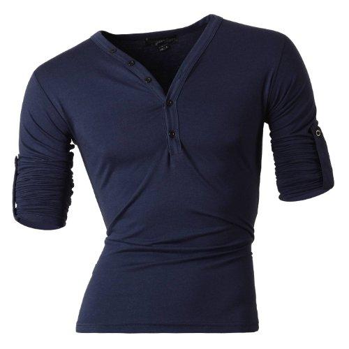 Jeansian Uomo Camicie Sport Senza Maniche della maglia che basa Camicia Moda Men Canotta Casuale Slim Fashion T-Shirts Vest D304 Navy S