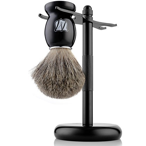 Miusco-100-Pure-Badger-Hair-Shaving-Brush-and-Luxury-Stand-Shaving-Set-Black-Stand-Black-Brush