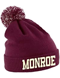 TTC Monroe Bobble Hat Unisex Hat Burgundy With White Embro