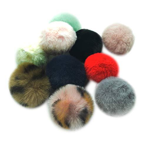 B Baosity 10 Stück Sortierte Farbe Plüsch Ball Pompom Bälle Schlüsselanhänger Weich Bommel für Handy-dekor DIY Schlüsselanhänger Keychain Material -